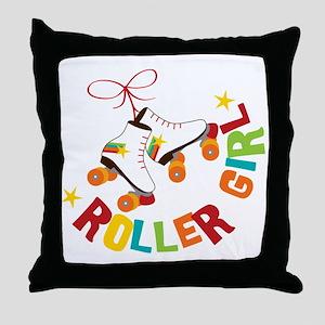 Roller Skate Girl Throw Pillow