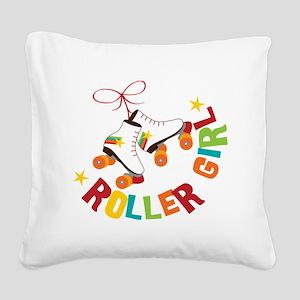 Roller Skate Girl Square Canvas Pillow