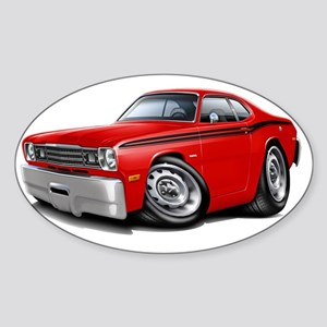 1970-74 Duster Red-Black Car Sticker (Oval)