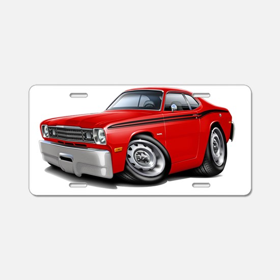 1970-74 Duster Red-Black Ca Aluminum License Plate