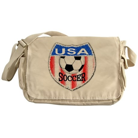 USA Soccer Shield stripes red white Messenger Bag