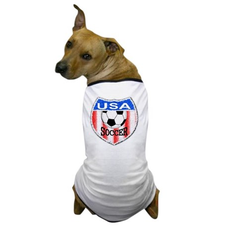 USA Soccer Shield stripes red white an Dog T-Shirt