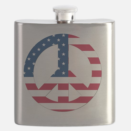 Peace Sign Symbol USA Flag Flask