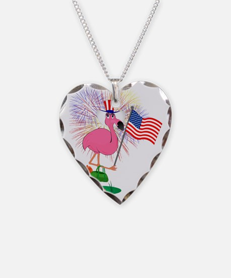 Funny 4th of July Flamingo Necklace