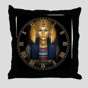 2-egyptian sarcophagus clock Throw Pillow