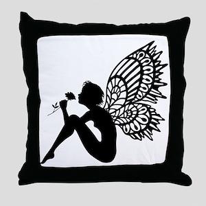 Fairy Smells Rose Throw Pillow
