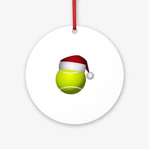 Christmas Tennis Ball with Santa Ha Round Ornament