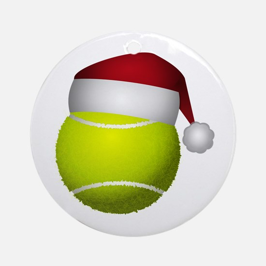 Christmas Tennis Ball with Santa Ha Round Ornament
