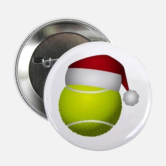 "Christmas Tennis Ball with Santa Hat 2.25"" Button"