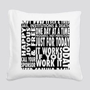 12 STEP SLOGONS IN BLACK Square Canvas Pillow
