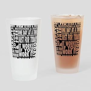 12 STEP SLOGONS IN BLACK Drinking Glass