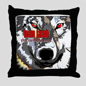 team jacob wolf face by twibaby Throw Pillow