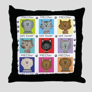 Meow Cat Lover Throw Pillow