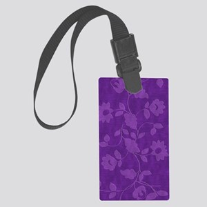 Purple Floral Journal Large Luggage Tag
