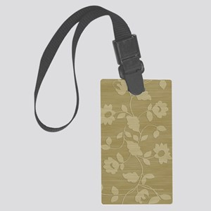 Beige floral journal Large Luggage Tag