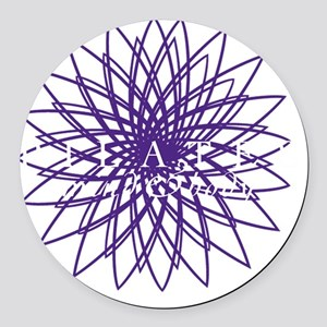 purple_white_large Round Car Magnet