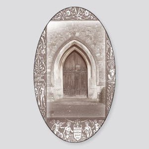 gothic door journal Sticker (Oval)