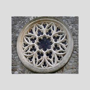 stone rose window Throw Blanket