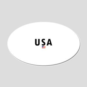 3-USA 20x12 Oval Wall Decal