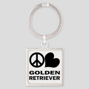 FIN-peace-love-golden-retriever Square Keychain