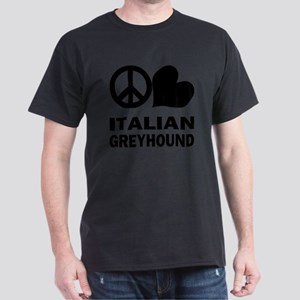 FIN-peace-love-italian-greyhound Dark T-Shirt