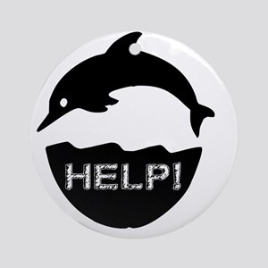 dolphin-help-white Round Ornament