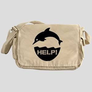 dolphin-help-white Messenger Bag