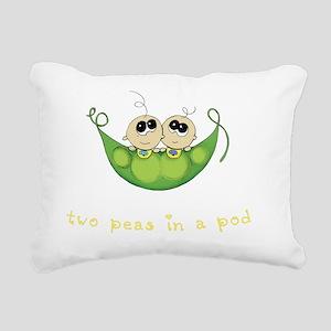 Two Peas In a Pod, Boy/B Rectangular Canvas Pillow