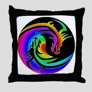 Zen rainbow dragons 11x11 Throw Pillow