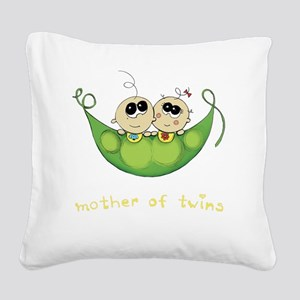 Mother of Twins, Boy/Girl Square Canvas Pillow
