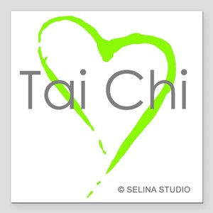 """taichi heart - middle Square Car Magnet 3"""" x 3"""""""