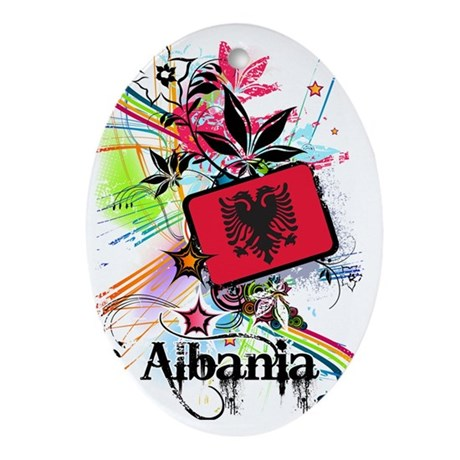 flowerAlbania1 Oval Ornament