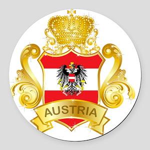 Gold1Austria1 Round Car Magnet