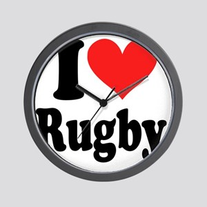 I Heart Rugby Wall Clock