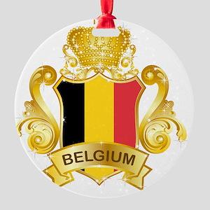 Gold1Belgium1 Round Ornament