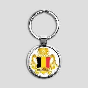 Gold1Belgium1 Round Keychain