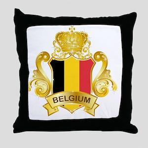 Gold1Belgium1 Throw Pillow