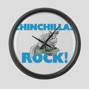 Chinchillas rock! Large Wall Clock