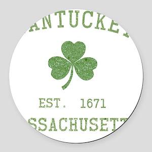nantucket-massachusetts-irish Round Car Magnet
