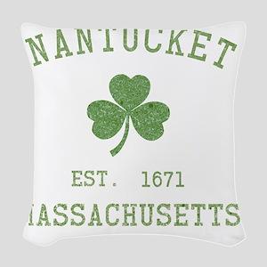nantucket-massachusetts-irish Woven Throw Pillow