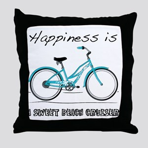 Happiness is a Beach Cruiser 2 Throw Pillow
