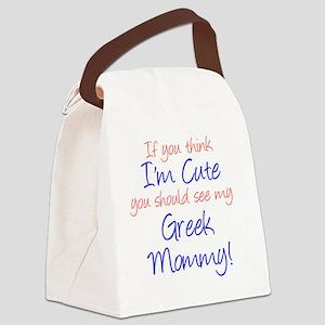 Im Cute - Greek Mommy Canvas Lunch Bag