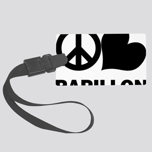 FIN-peace-love-papillon-CROP Large Luggage Tag