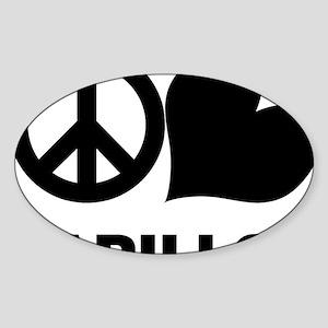 FIN-peace-love-papillon-CROP Sticker (Oval)