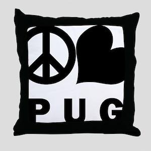 FIN-peace-love-pug-CROP Throw Pillow