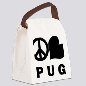 FIN-peace-love-pug-CROP Canvas Lunch Bag