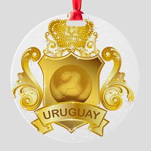 Gold3Uruguay1 Round Ornament