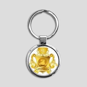 Gold3Uruguay1 Round Keychain