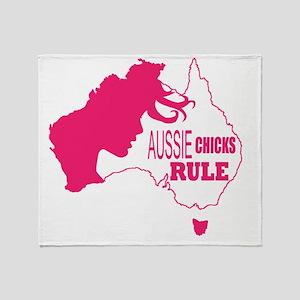 Aussie Chicks Rule Throw Blanket
