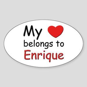 My heart belongs to enrique Oval Sticker